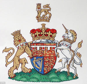a close up of a box: Prince Harry's coat of arms also features a lion as a 'supporter', it is customery for wives of the royals to have one of their husband's supporters on their crest