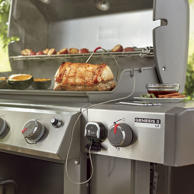 The Weber iGrill 3, which is compatible with the brand's Genesis II and Genesis II LX gas grills, allows you to closely monitor your food so you get perfect results every time. The Bluetooth-enabled device supports up to four probes and sends information such as food temperature, cook time and even propane tank levels to your smartphone or tablet via the Weber iGrill app.