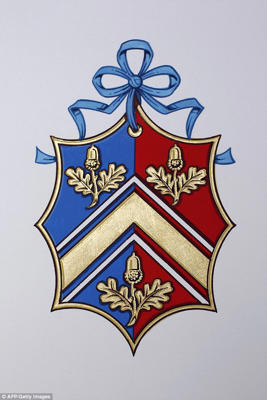 a close up of a sign: Meghan's crest has stark contrasts with Kate's (pictured) with the Duchess of Cambridge opting to have a family Coat of Arms rather than an individual one