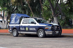 Merida, Mexico - 4th January, 2018: Police pick-up Ram 1500 parked on the street. This vehicle is used to patrols on the streets.