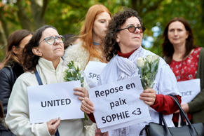 Wellwishers react during a march in honour of slain French au-pair Sophie Lionnet in Wimbledon, west London, on October 8, 2017.  The charred body found in a London garden last month was identified as that of 21-year-old French woman Sophie Lionnet who worked as an au-pair, police said October 3, 2017. The gruesome nature of the death provoked a strong reaction from au pairs working in Britain, and among the French community at large. / AFP PHOTO / NIKLAS HALLE'N        (Photo credit should read NIKLAS HALLE'N/AFP/Getty Images)