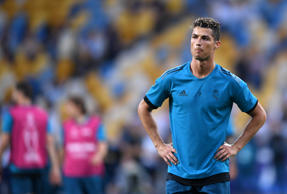 KIEV, UKRAINE - MAY 25:  Cristiano Ronaldo of Real Madrid looks on during a Real Madrid training session ahead of the UEFA Champions League Final against Liverpool at NSC Olimpiyskiy Stadium on May 25, 2018 in Kiev, Ukraine.  (Photo by Laurence Griffiths/Getty Images)
