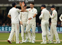 England's James Anderson celebrates taking the wicket
