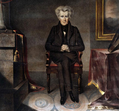 Slide 1 of 10: UNSPECIFIED - CIRCA 1830: Andrew Jackson (1767-1845) American soldier and Seventh President of the United States 1829-1837. Full-length portrait of Jackson seated beside a table. Coloured lithograph of the painting by William James Hubard (1807-1862). (Photo by Universal History Archive/Getty Images)