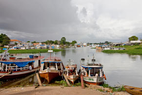 Ships and Boats in the Harbor of Parintins, Amazon River, Brazil.