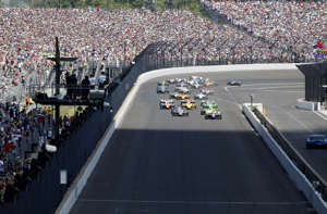 IndyCar: 102nd Running of the Indianapolis 500: IndyCar Series driver Ed Carpenter (20) leads the field to the green flag during the 102nd Running of the Indianapolis 500 at Indianapolis Motor Speedway.
