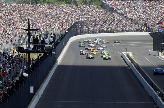 Slide 1 of 25: IndyCar Series driver Ed Carpenter (20) leads the field to the green flag during the 102nd Running of the Indianapolis 500 at Indianapolis Motor Speedway.