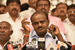 BENGALURU, INDIA - MAY 16: Janata Dal (Secular) leader Kumaraswamy addresses media personnel during a press conference after a legislative meeting at a city hotel, on May 16, 2018 in Bengaluru, India. A day after BJP failed to secure a majority of its own despite finishing as the single largest party in the state, BJP Chief BS Yeddyurappa has claimed he will take oath as Chief Minister on May 17. Yeddyurappa's claim comes even as Congress and JD(S) have decided to come together to form the government. (Photo by Arijit Sen/Hindustan Times via Getty Images)