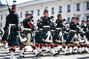 LONDON, ENGLAND - APRIL 20:  Soldiers from the Balaclava Company, 5th  Battalion The Royal Regiment of Scotland prepare for public duties in the capital on April 20, 2018 in London, England. Before these kilted operational soldiers are allowed to stand guard outside of Buckingham Palace or the Tower of London, they have to pass muster in front of some of the Army's toughest judges. This Fit For Role Inspection was taking place at Wellington Barracks and required the Edinburgh based troops to prove their ceremonial prowess in front of senior Officers of the Household Division.  (Photo by Jeff J Mitchell/Getty Images)