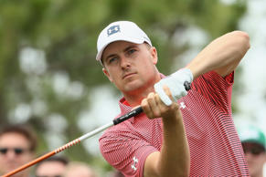 Jordan Spieth of the United States plays his shot.