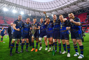Leinster's Jack Conan, Tadhg Furlong, Garry Ringrose, Andrew Porter, Joey Carbery, Dan Leavy, James Tracy and Cian Healy following their victory in the European Rugby Champions Cup Final match between Leinster and Racing 92 at the San Mames Stadium in Bilbao, Spain.