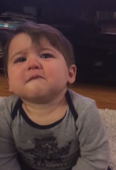 Toddler boy gets emotional listening to his mom's singing