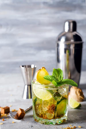 gin tonic cocktail with ginger, cucumber and mint