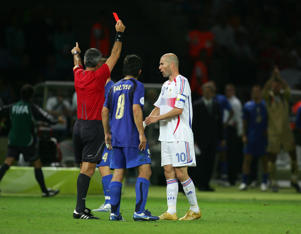 Zinedine Zidane of France receives a red card