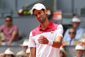 Serbia's Novak Djokovic reacts during his second round match against Britain's Kyle Edmund