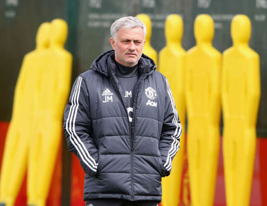 Slide 1 of 33: MANCHESTER, ENGLAND - APRIL 28: (EXCLUSIVE COVERAGE) Manager Jose Mourinho of Manchester United in action during a first team training session at Aon Training Complex on April 28, 2018 in Manchester, England. (Photo by Matthew Peters/Man Utd via Getty Images)