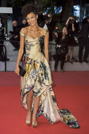 Thandie wore this custom Vivienne Westwood gown that featured action figures of all the black Star Wars characters (Image: WENN)