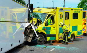 Jail for man who stole ambulance and crashed head-on into school bus