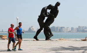 A sculpture of Zidane's head butt on Materzzi in Doha