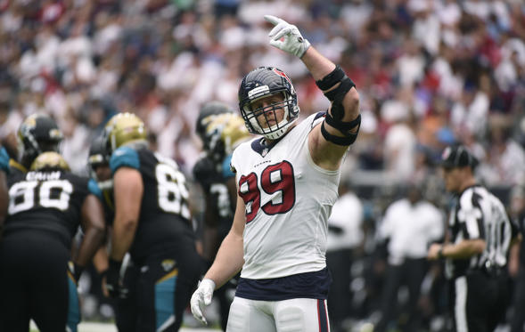 Slide 1 of 11: Houston Texans defensive end J.J. Watt celebrates a play during the first half of an NFL football game against the Jacksonville Jaguars on Sept. 10, 2017, in Houston.