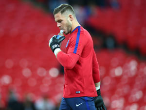 England's Jack Butland during FIFA World Cup Qualifying - European Region - Group F match between England and Slovenia  at Wembley stadium, London 05 Oct 2017 (Photo by Kieran Galvin/NurPhoto via Getty Images)
