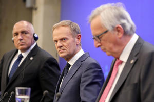 European Commission President Jean-Claude Juncker, right, European Union President Donald Tusk, center, and Bulgarian Prime Minister Boyko Borisov attend a press conference during an EU-Western Balkans Summit in Sofia, Bulgaria, on Thursday.
