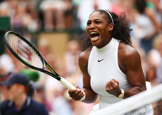 Slide 1 of 16: LONDON, ENGLAND - JULY 09: Serena Williams of The United States celebrates during The Ladies Singles Final against Angelique Kerber of Germany on day twelve of the Wimbledon Lawn Tennis Championships at the All England Lawn Tennis and Croquet Club on July 9, 2016 in London, England. (Photo by Clive Brunskill/Getty Images)