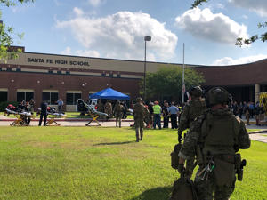 Law enforcement officers are responding to Santa Fe High School following a shooting incident in this Harris County Sheriff office, Santa Fe, Texas, U.S., photo released on May 18, 2018.   Courtesy HCSO/Handout via REUTERS   ATTENTION EDITORS - THIS IMAGE HAS BEEN SUPPLIED BY A THIRD PARTY. - RC1B22E440A0