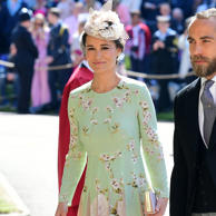 Pippa Middleton and her husband James Matthews were among the many well-dressed attendees of Prince Harry and Meghan Markle's wedding on Saturday. Of course, Pippa is no stranger to high-profile weddings, and she seemingly has an endless stream of pretty dresses perfect for the occasion. This time around, Pippa, who is rumoured to be in the early stages of her first pregnancy, looked stunning in a long-sleeved mint green chinoiserie-inspired floral dress with pale pink godet details. The dress is by London-based boutique The Fold, and is currently on sale for £495.Pippa teamed the pretty dress with matching strappy heels, a box clutch, and a small flower-trimmed hat. The whole look is perfect for a Spring wedding, and we wouldn't expect anything less from her.
