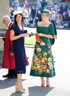 Lady Kitty Spencer (right) showed up at the ceremony in a sensational green floral Dolce & Gabbana dress. She's previously worked for the fashion brand as a model.