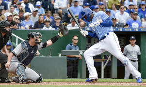 Kansas City Royals' Jorge Soler is hit by a pitch from New York Yankees starting pitcher Sonny Gray in the seventh inning on Sunday, May 20, 2018, at Kauffman Stadium in Kansas City, Mo.