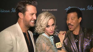 Luke Bryan, Katy Perry, Lionel Richie posing for the camera: Katy Perry Says Meghan Markle's Wedding Dress Needed 'One More Fitting!' (Exclusive)