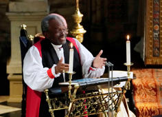 The Most Rev Bishop Michael Curry, primate of the Episcopal Church, gives an address during the wedding of Prince Harry and Meghan Markle in St George's Chapel at Windsor Castle in Windsor, Britain, May 19, 2018. Owen Humphreys/Pool via REUTERS