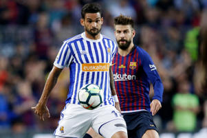 Willian Jose of Real Sociedad, Gerard Pique of FC Barcelona  during the La Liga Santander  match between FC Barcelona v Real Sociedad at the Camp Nou on May 20, 2018 in Barcelona Spain
