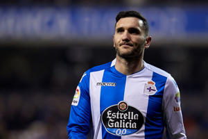 Lucas Perez of Deportivo de La Coruna looks on during the La Liga match between Deportivo La Coruna and Espanyol  at  on February 23, 2018 in La Coruna, .