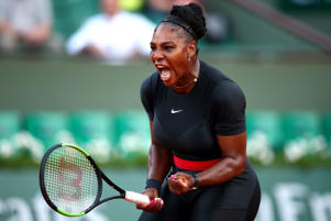 PARIS, FRANCE - MAY 31:  Serena Williams of The United States celebrates during the ladies singles second round match against Ashleigh Barty of Ausralia during day five of the 2018 French Open at Roland Garros on May 31, 2018 in Paris, France.  (Photo by Clive Brunskill/Getty Images)