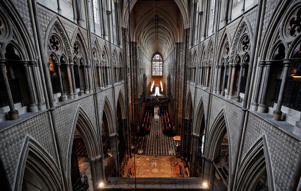 A view at Westminster Abbey from the medieval Triforium that hosts an exhibition in London, Tuesday, May 29, 2018. The Queen's Diamond Jubilee Galleries, set more than 16 meters, (52 feet) above the Abbey floor in the medieval Triforium, will open to the public for the first time on June 11, 2018 displaying over 300 treasures from the Abbey's collection which will tell the rich thousand-year history of the institution at Westminster Abbey. (AP Photo/Frank Augstein)