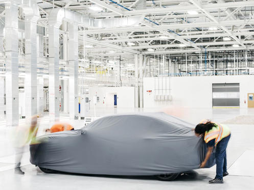 A 2019 S60, under wraps. It will be the first U.S.-made Volvo.
