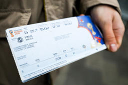 MOSCOW, RUSSIA - APRIL 18, 2018: A ticket for the 2018 FIFA Word Cup final match printed at a FIFA Venue Ticketing Centre. At the moment fans can apply to the FIFA Venue Ticketing Centres to collect tickets for the 2018 FIFA World Cup matches that they have purchased online. As of May 1 fans will be able to purchase tickets at the centres. Mikhail Tereshchenko/TASS (Photo by Mikhail Tereshchenko\TASS via Getty Images)