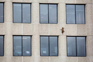 The creature scurries up the UBS Tower in St Paul (AP)