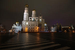General view inside the walled area of the Kremlin at night - provided by PA