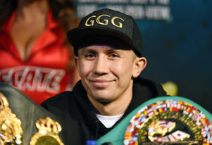 LAS VEGAS, NV - SEPTEMBER 13:  WBC, WBA and IBF middleweight champion Gennady Golovkin attends a news conference at MGM Grand Hotel & Casino on September 12, 2017 in Las Vegas, Nevada. Golovkin will defend his titles against Canelo Alvarez at T-Mobile Arena on September 16 in Las Vegas.  (Photo by Ethan Miller/Getty Images)