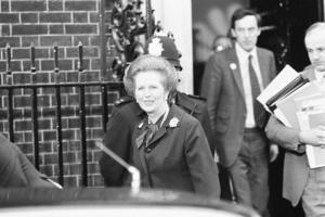 Margaret Thatcher PM pictured outside Downing Street, London, Thursday 6th May 1982, she iseaving Downing Street for the House of Commons, to address Parliament on latests news regarding Falklands Conflict.