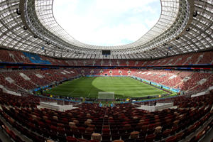 MOSCOW, RUSSIA - JUNE 14:  General view inside the stadium prior to the 2018 FIFA World Cup Russia Group A match between Russia and Saudi Arabia at Luzhniki Stadium on June 14, 2018 in Moscow, Russia.  (Photo by Lars Baron - FIFA/FIFA via Getty Images)