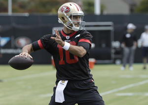San Francisco 49ers quarterback Jimmy Garoppolo passes during a practice at the team's NFL football training facility in Santa Clara, Calif., Wednesday, May 30, 2018. (AP Photo/Jeff Chiu)