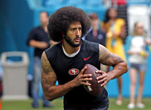 Colin Kaepernick #7 of the San Francisco 49ers runs with the ball prior to the game against the Miami Dolphins on November 27, 2016 at Hard Rock Stadium in Miami Gardens, Florida. The Dolphins defeated the 49ers 31-24. (Photo by Joel Auerbach/Getty Images)