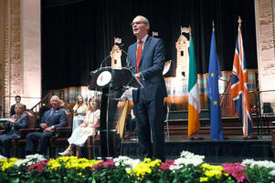 Irish Foreign Minister Simon Coveney speaking during the civic reception at City Hall in Cork (Brian Lawless/PA)