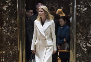 NEW YORK, NY - NOVEMBER 17: Ivanka Trump, daughter of President-elect Donald Trump, walks out of an elevator at Trump Tower in New York, NY on Thursday, Nov. 17, 2016. (Photo by Jabin Botsford/The Washington Post via Getty Images)