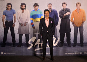 MUMBAI, INDIA APRIL 24:  Ranbir Kapoor during the teaser launch of his upcoming  film 'Sanju', based on the life of Bollywood actor Sanjay Dutt, in Mumbai. (Photo by Milind Shelte/India Today Group/Getty Images)