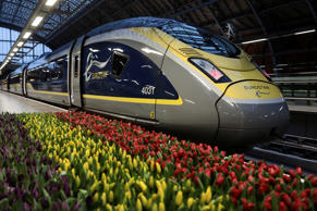 Tullips sit in front of a Eurostar train bound for Amsterdam at St Pancras station in London, Britain February 20, 2018. REUTERS/Simon Dawson